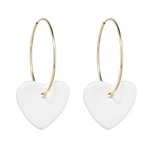 Women's off white and gold porcelain heart earrings