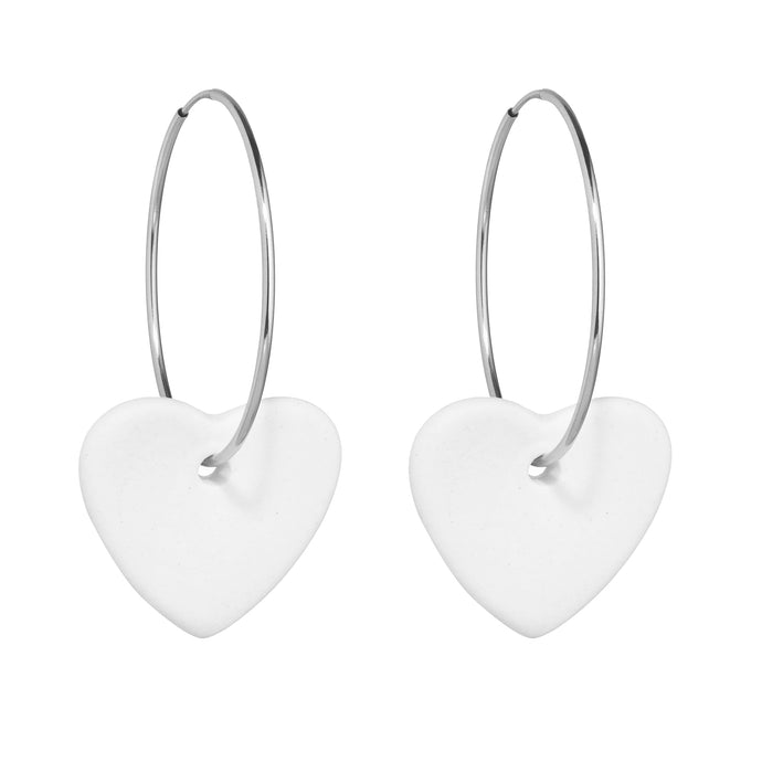 Women's off white and silver porcelain heart earrings