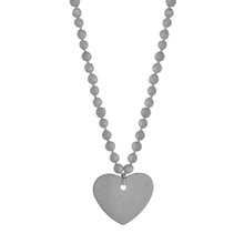 Women's grey large porcelain beaded heart necklace