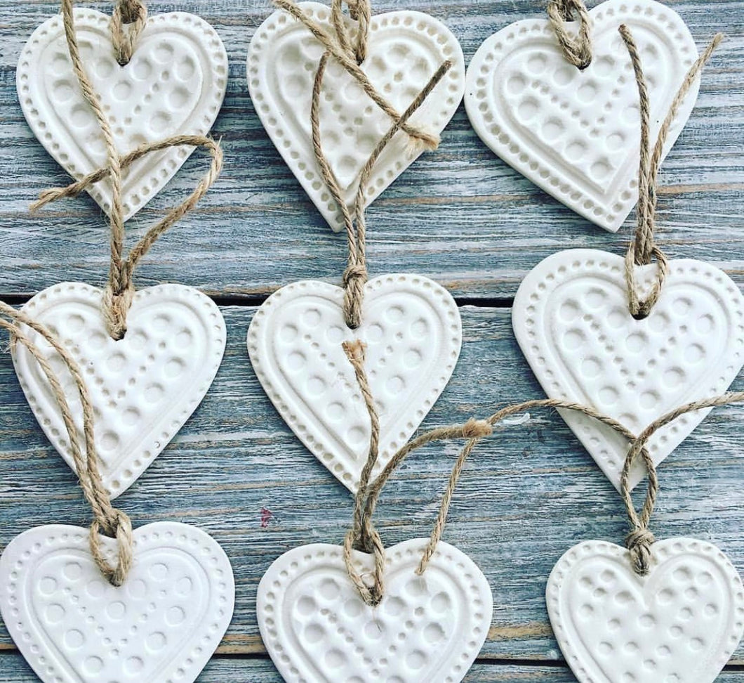 Porcelain heart Christmas tree decoration small
