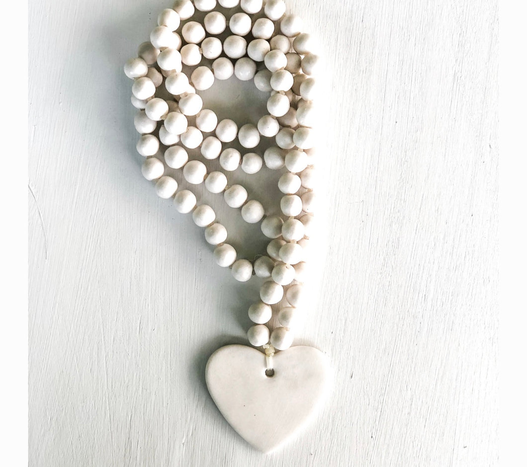 Women's off white large porcelain beaded heart necklace