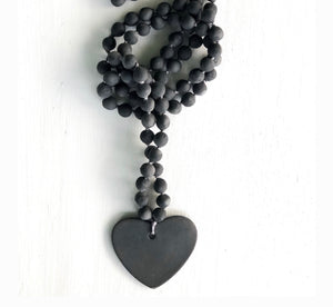 Women's charcoal large porcelain beaded heart necklace
