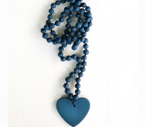 Women's indigo large porcelain beaded heart necklace