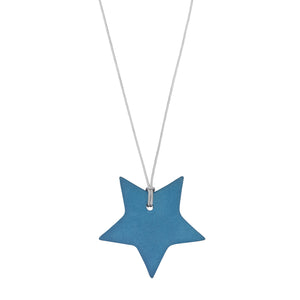 Women's indigo porcelain star on a string necklace