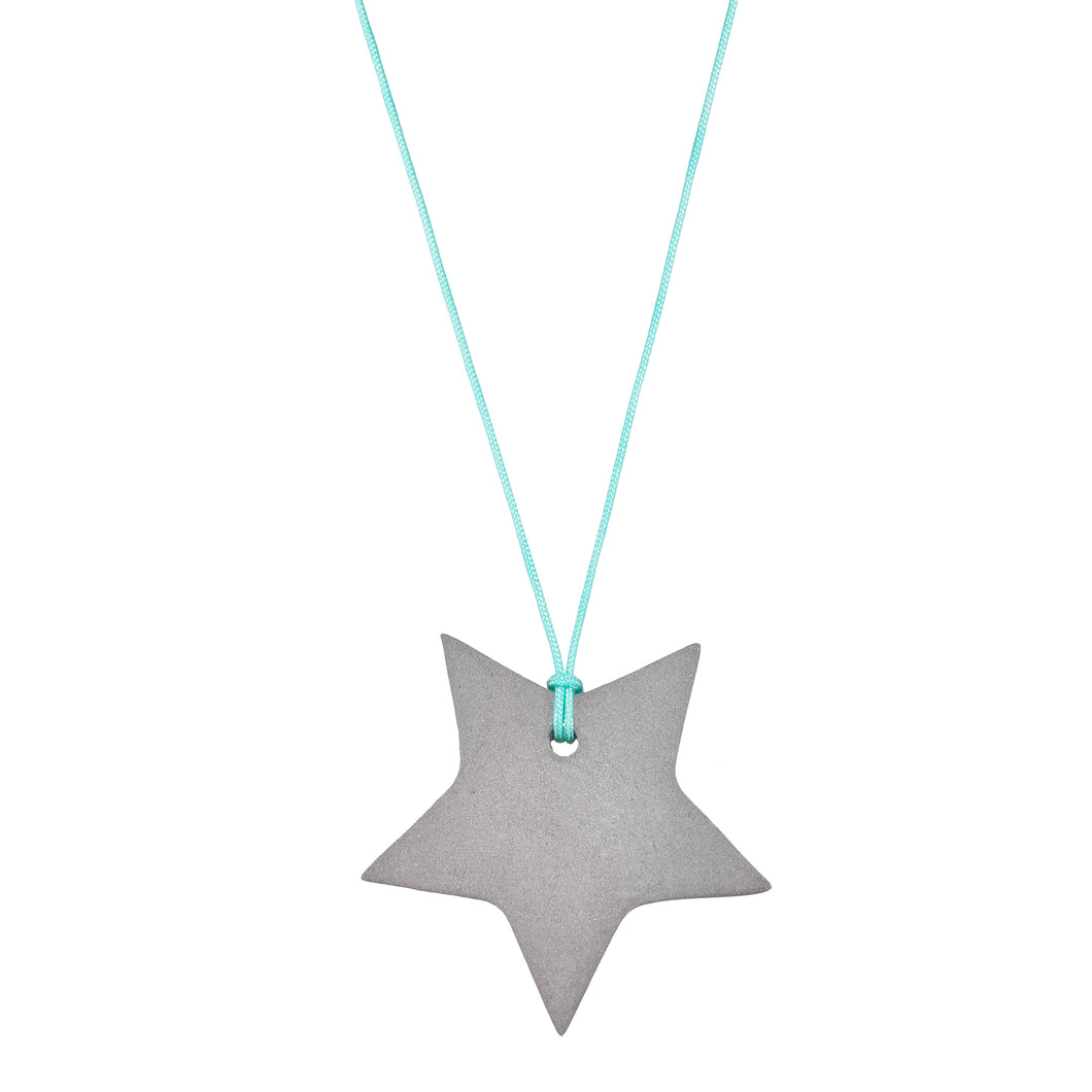 Women's grey porcelain star on a string necklace