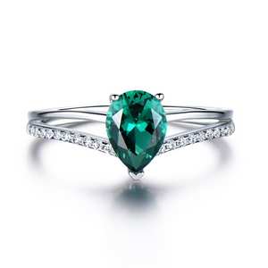 Clocks & Rocks | Umcho Russian Nano 6*8mm Green Emerald Ring on sale | free shipping