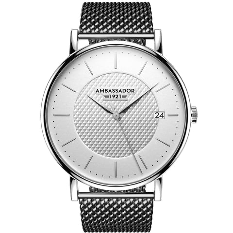 Clocks and Rocks | Heritage 1921 - Silver Mesh Strap | Classic watch | Front