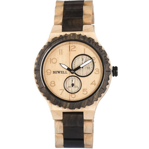 BEWELL ZS-Vintage Natural Wooden Stopwatch | Clocks & Rocks