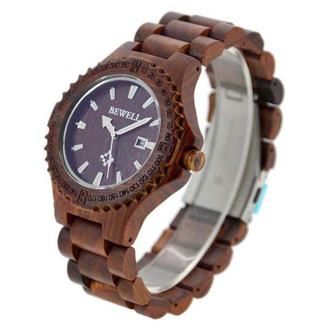 BEWELL Men's Natural Wooden Wrist Watch | Clocks & Rocks