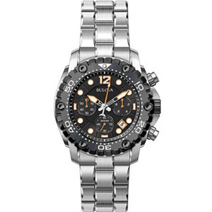 Bulova Sea King Men's Quartz Watch with Black Dial Analogue Display and Silver Stainless Steel Bracelet