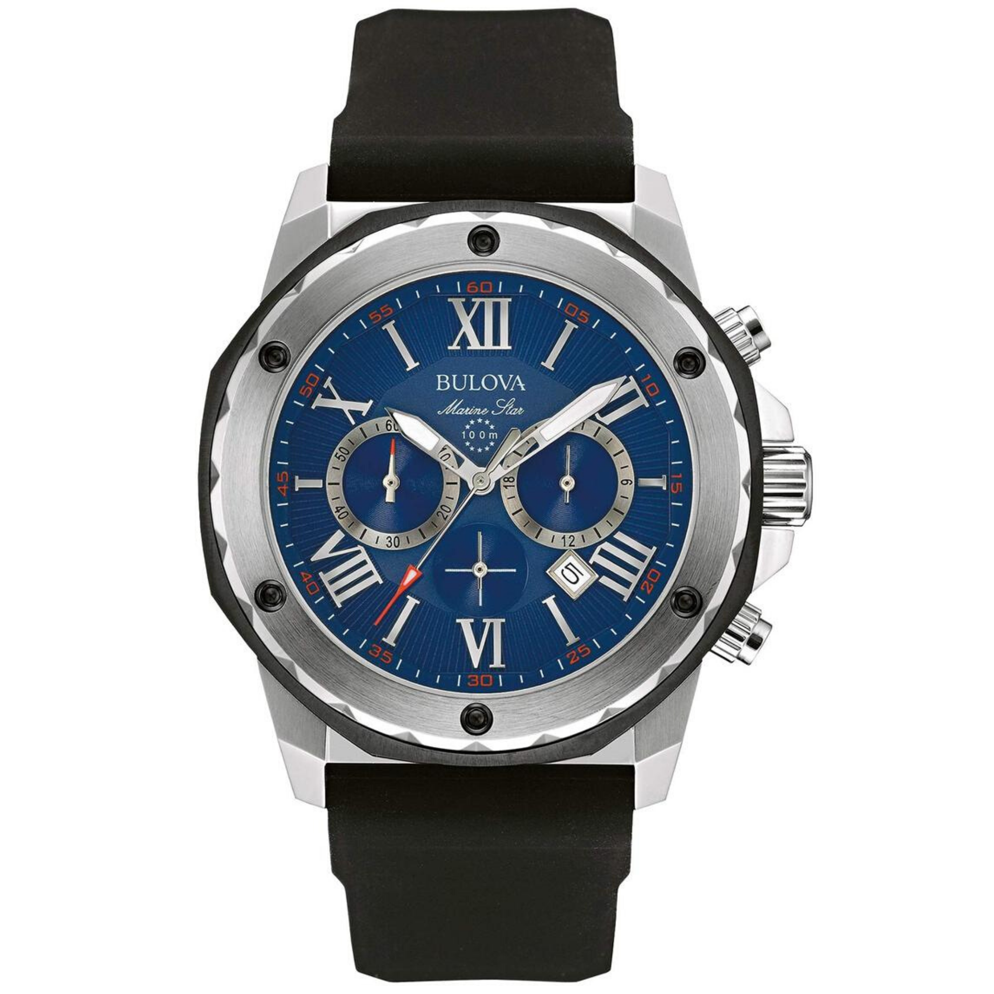 Bulova Men's Designer Chronograph Watch Rubber Strap - Water Resistant Blue Dial Marine Star 98B258