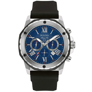 Bulova Men's Designer Chronograph Watch Rubber Strap | Clocks & Rocks