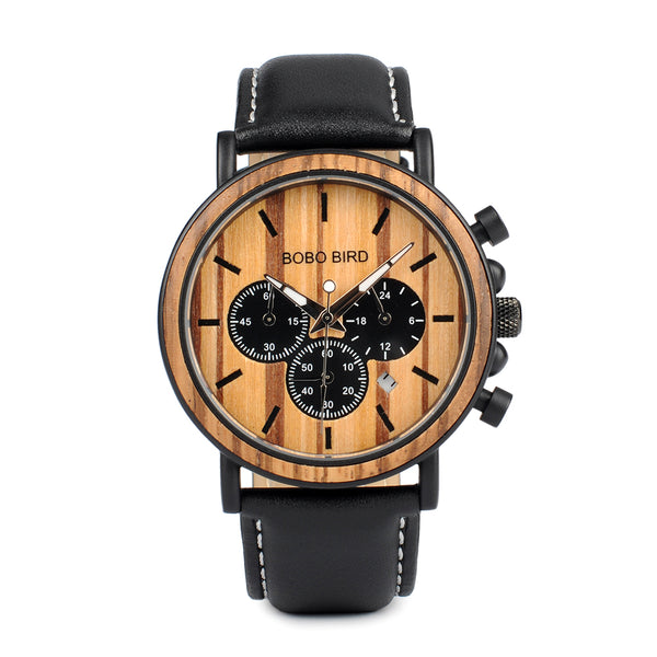 Men's Chronograph Wooden Timepiece - P09-2 | Clocks & Rocks
