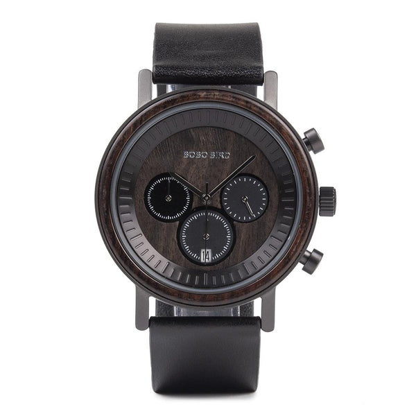 BOBO BIRD Natural Wooden Chronograph Watch R01-1 | Clocks & Rocks