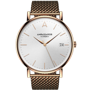 Clocks and Rocks | Heritage 1959-Golden Mesh Strap Men's Wrist watch | Front