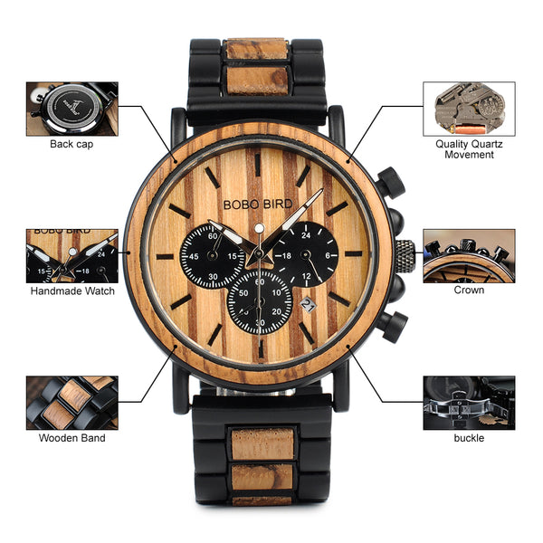 Men's Chronograph Wooden Timepiece - P09-1 | Clocks & Rocks