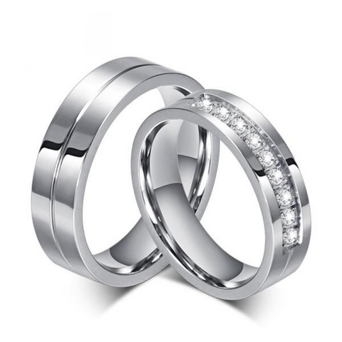 Clocks & Rocks | Wedding Band Engagement 6mm Rings for Couples