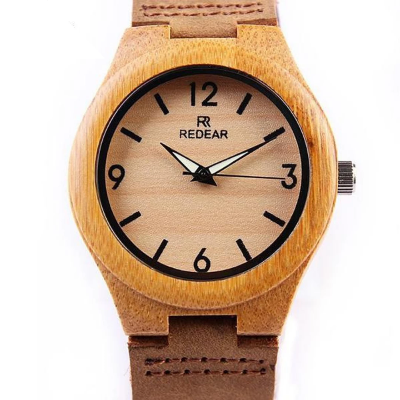 REDEAR – Men's Luminous Hands Bamboo Wooden Watch | Clocks & Rocks