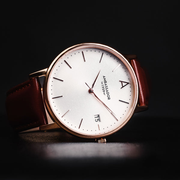 Heritage 1959 - Burgundy Leather Strap | Clocks & Rocks