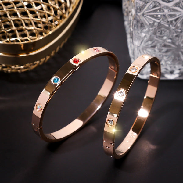 Rose-gold couple bracelets designed by small crowds friendship bracelets bangles for women ladies hand bangles retro  jewelry