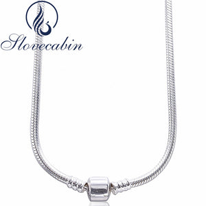 Slovecabin Original 925 Sterling Silver Clasp Pendants Necklaces Femme Vintage Classic 925 Silver Choker Necklace For Women | Clocks & Rocks