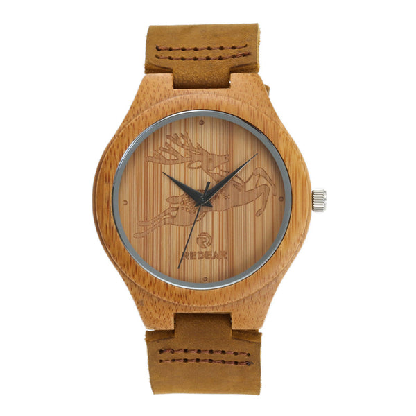 REDEAR Natural Wooden Unisex Watch - Deer Elk Design | Clocks & Rocks