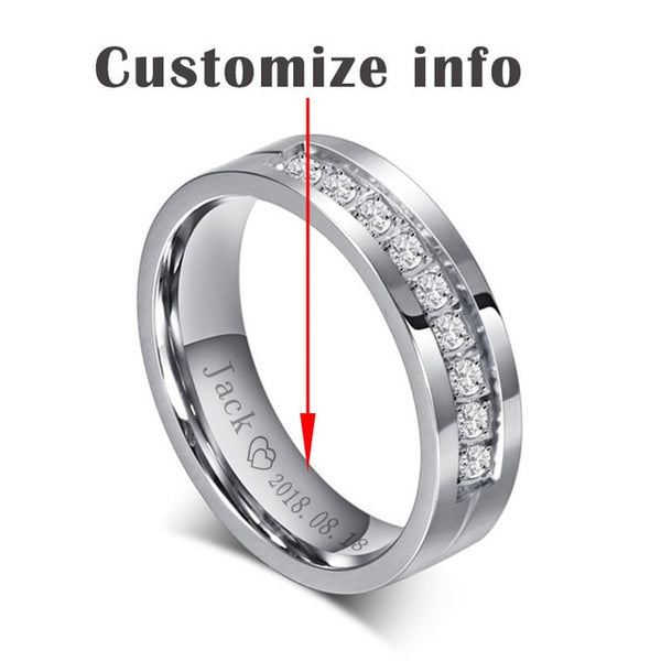 Clocks & Rocks | Wedding Band Engagement 6mm Rings for Couples | Free Shipping
