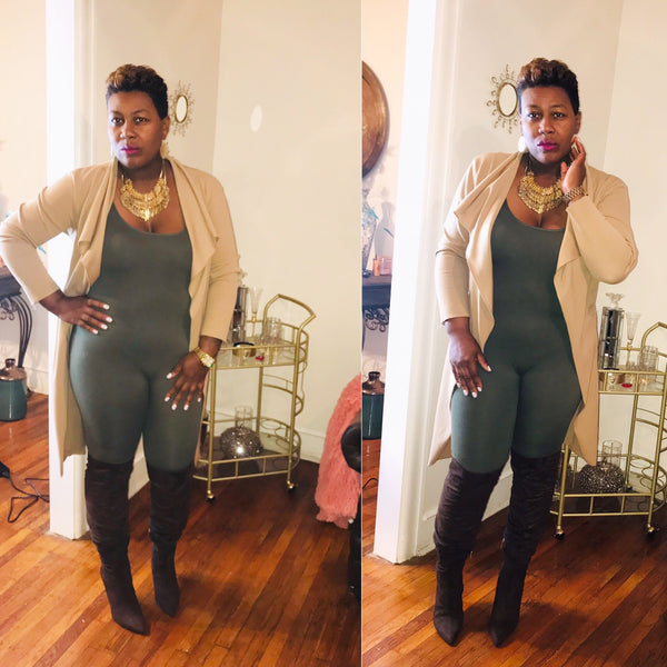 Omega Olive Plus Jumpsuit