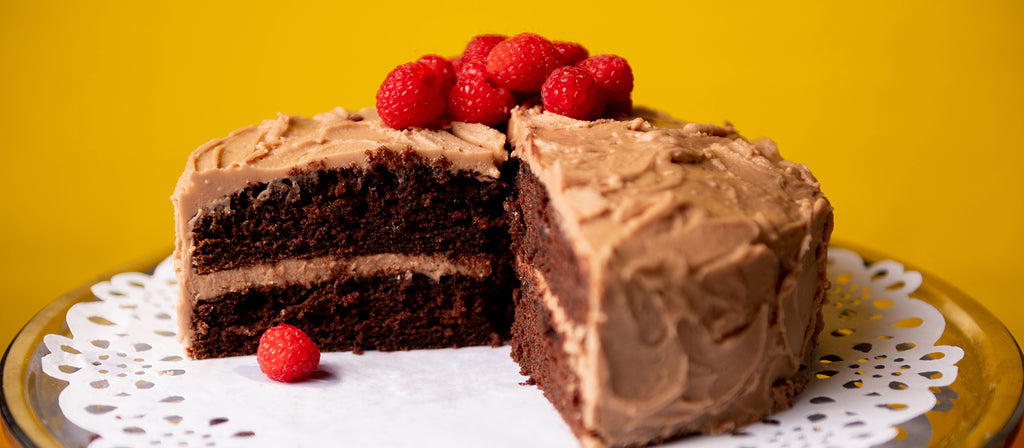 Allergy free chocolate cake with raspberries cut section