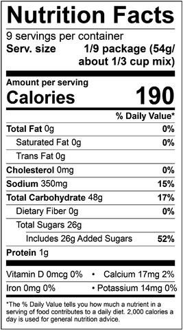 Allergen Friendly Yellow Cake Mix Label