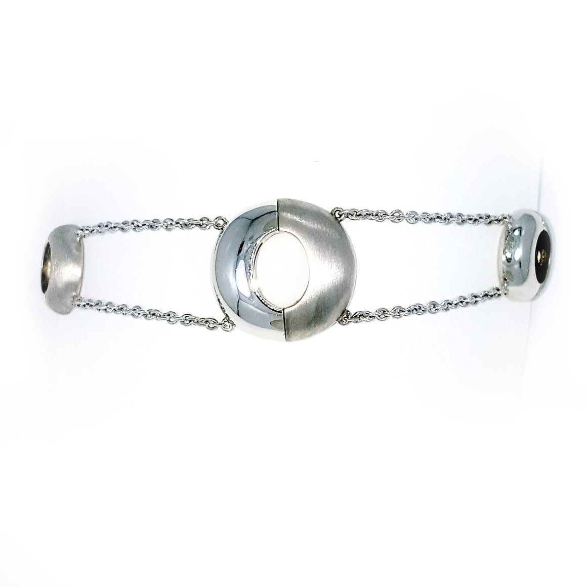 Silver magnetic bracelet chrom & matt finish