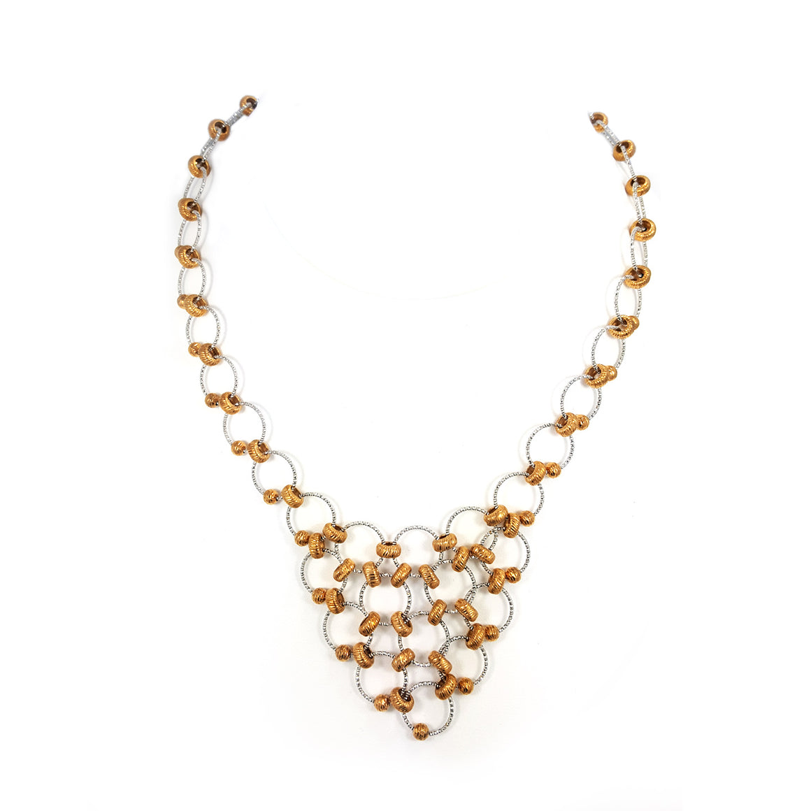 Silver necklace with gold overlay beads