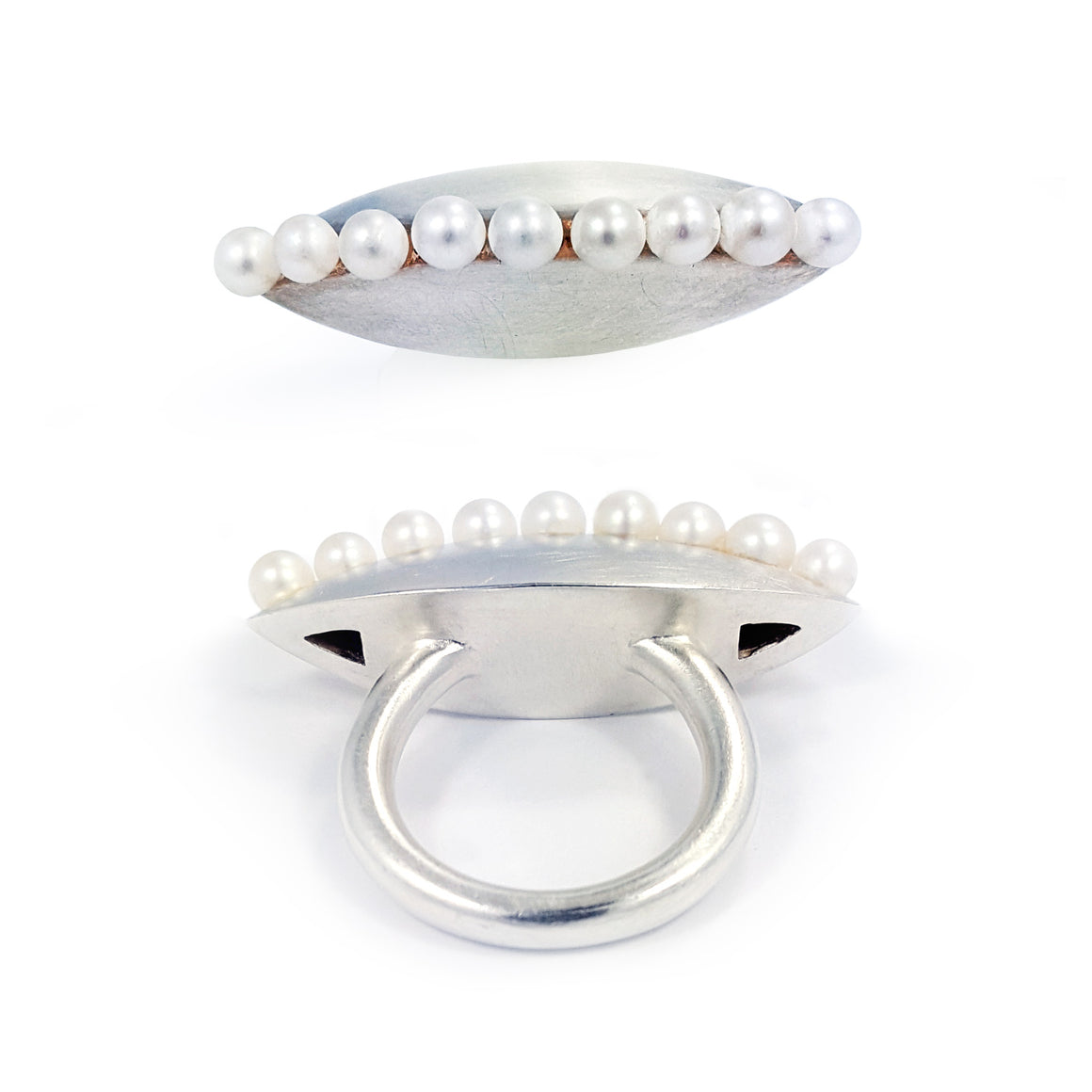 Silver ring satin finish with fresh water pearls, size 7.5