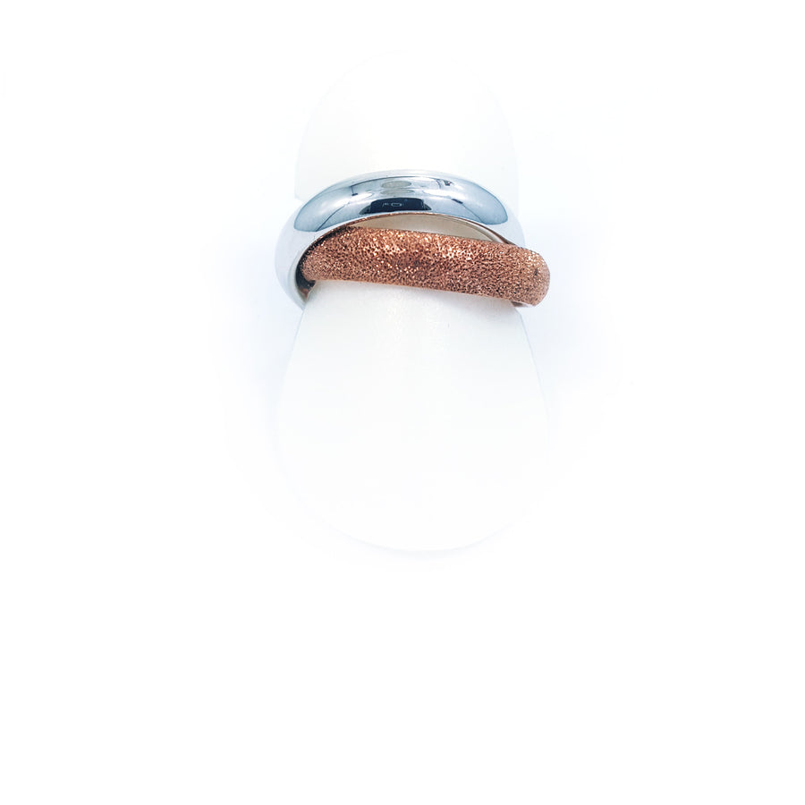 Silver ring  18 k. rose gold overlay