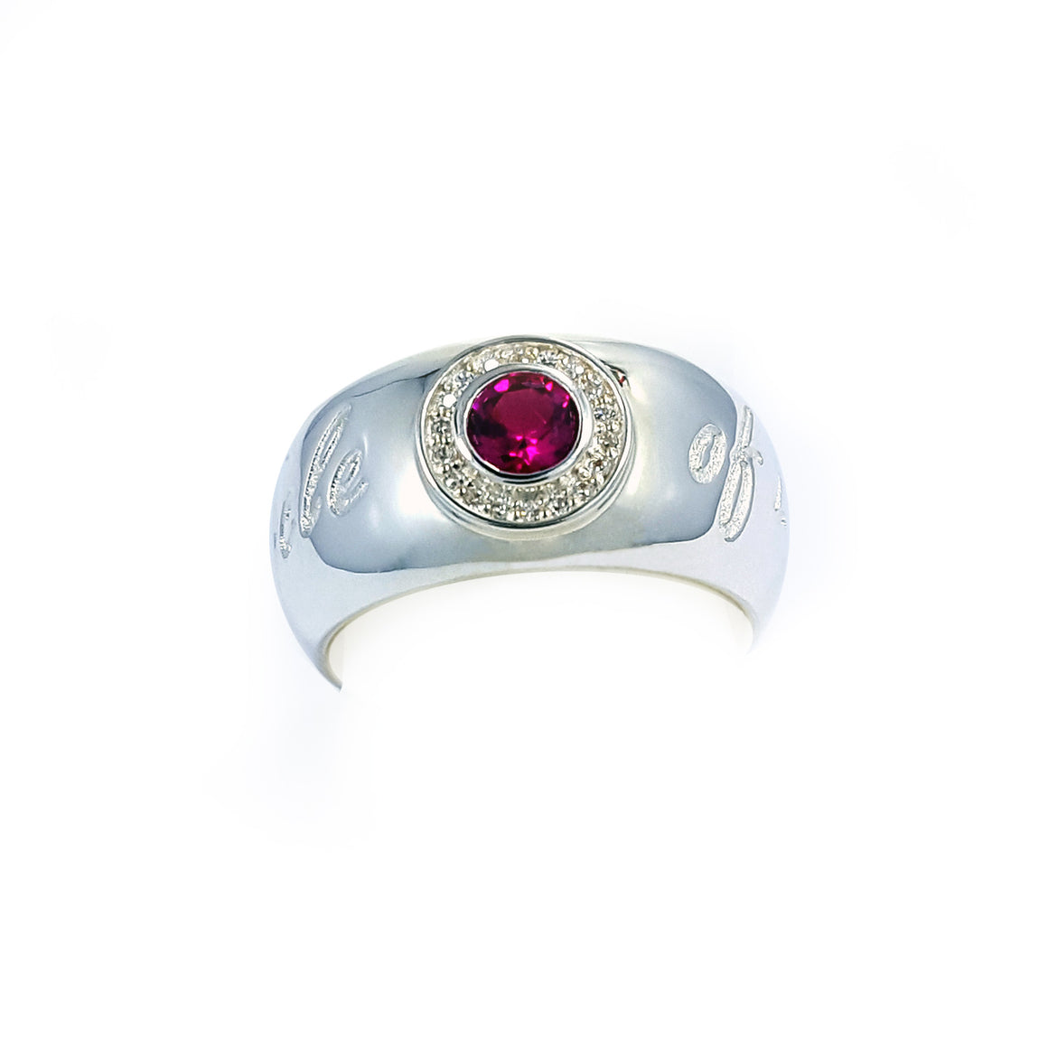 Sliver ring with red corundum & crystals