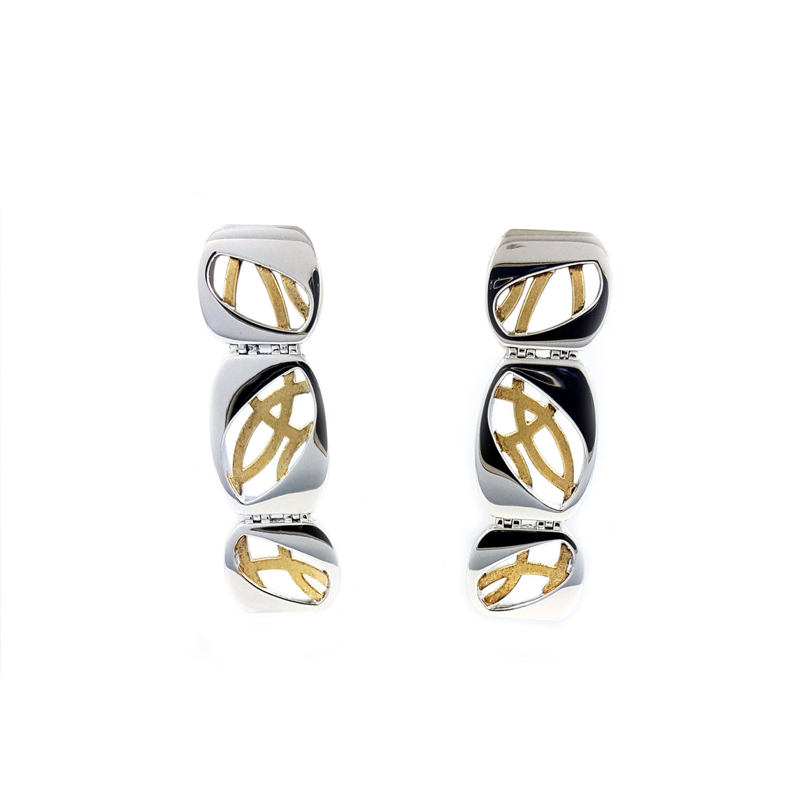 Silver earings with yellow gold