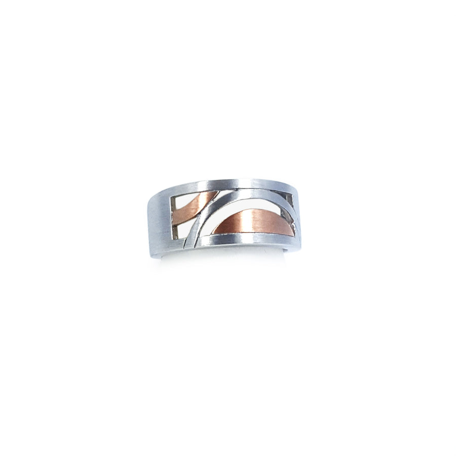 Silver ring - matt finish with rose gold