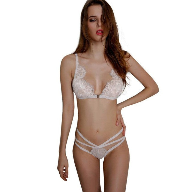 Women ultra - thin lace sexy bras ladies bra sets women underwear Corset Lace Bandage Push Up Bra Three Quarters