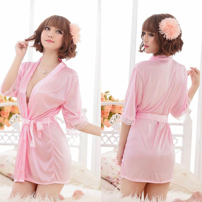 Women Satin Lace Robe Sleepwear Lingerie Nightdress G-string Pajama BK