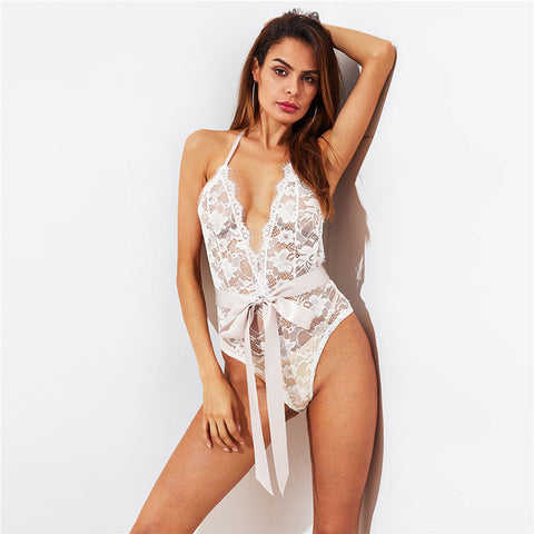 COLROVIE 2018 New Arrival Self Tie Open Back Lace Teddy White Floral Woman Clothing New Fashion Spring Sexy Bodysuit