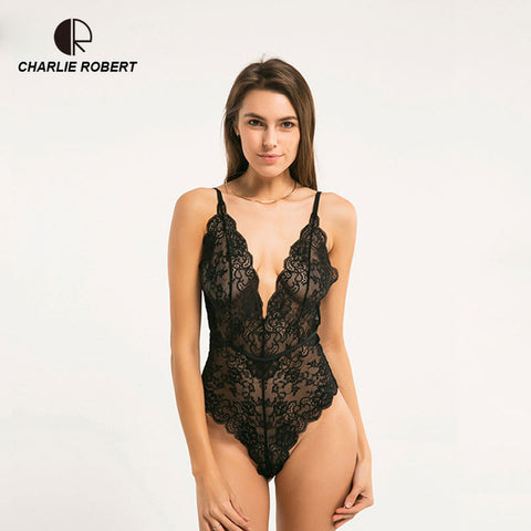 CR New Bodysuit Transparent Lace Sexy Hollow Vest Deep V Teddy Europe Thin Bra Sets