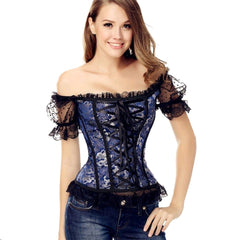 Women's Gothic Brocade Overbust Bustier Corset with Lace Sleeves
