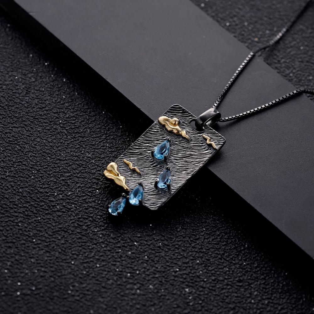 925 Sterling Silver Handmade Clouds Sea Swallows Nature Swiss Blue Topaz Gemstone Women's Pendant Necklace