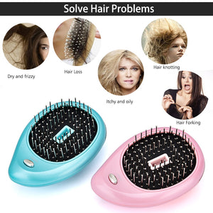 Electric Ionic Hairbrush Portable Mini Small Hair Magic Beauty Brush Negative Ions Hair Comb New Hair Modeling Styling Tools