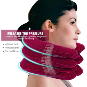 3 Layers Inflatable Neck Traction Soft Cervical Collar Stretching Device Air Cervical Pillow for Neck&Shoulder Pain Relief Brace