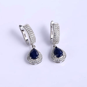 1.29ct Natural Sapphire Gemstone Drop Earrings Solid 925 Sterling Silver Fine Jewelry For Women Wedding