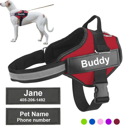 Personalized Dog Harness Reflective Adjustable Pet Harness Vest For small large Dog With Customized Patch Dog Walking Supplies