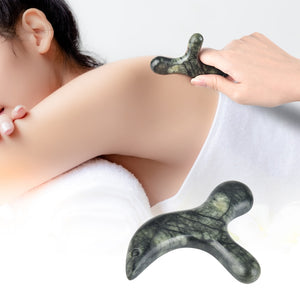 Portable Reflexology Therapy Triangle GuaSha Board Natural Green Jade Massager Body Trigeminal Massage Tool for Face Back Neck
