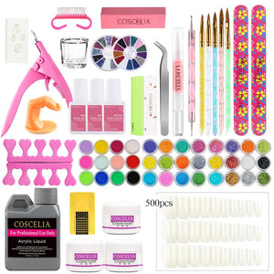 Pro Nail Acrylic Kit Powder Glitter Full Manicure Set For Nail Art Liquid Decoration Crystal Brush Tips Tools Kit For Manicure