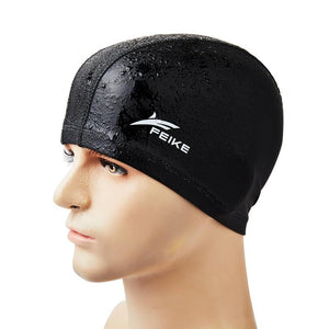 Adults Swim Cap Elastic Waterproof PU Fabric Long Hair Ears Protection Hat Sports Swimwear - shalav5